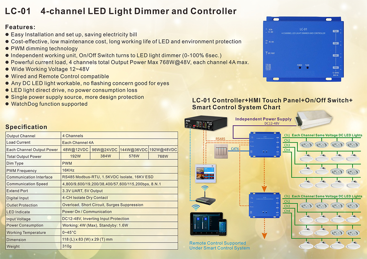 Taiwan LC-01 4-channel LED Light Dimmer and Controller