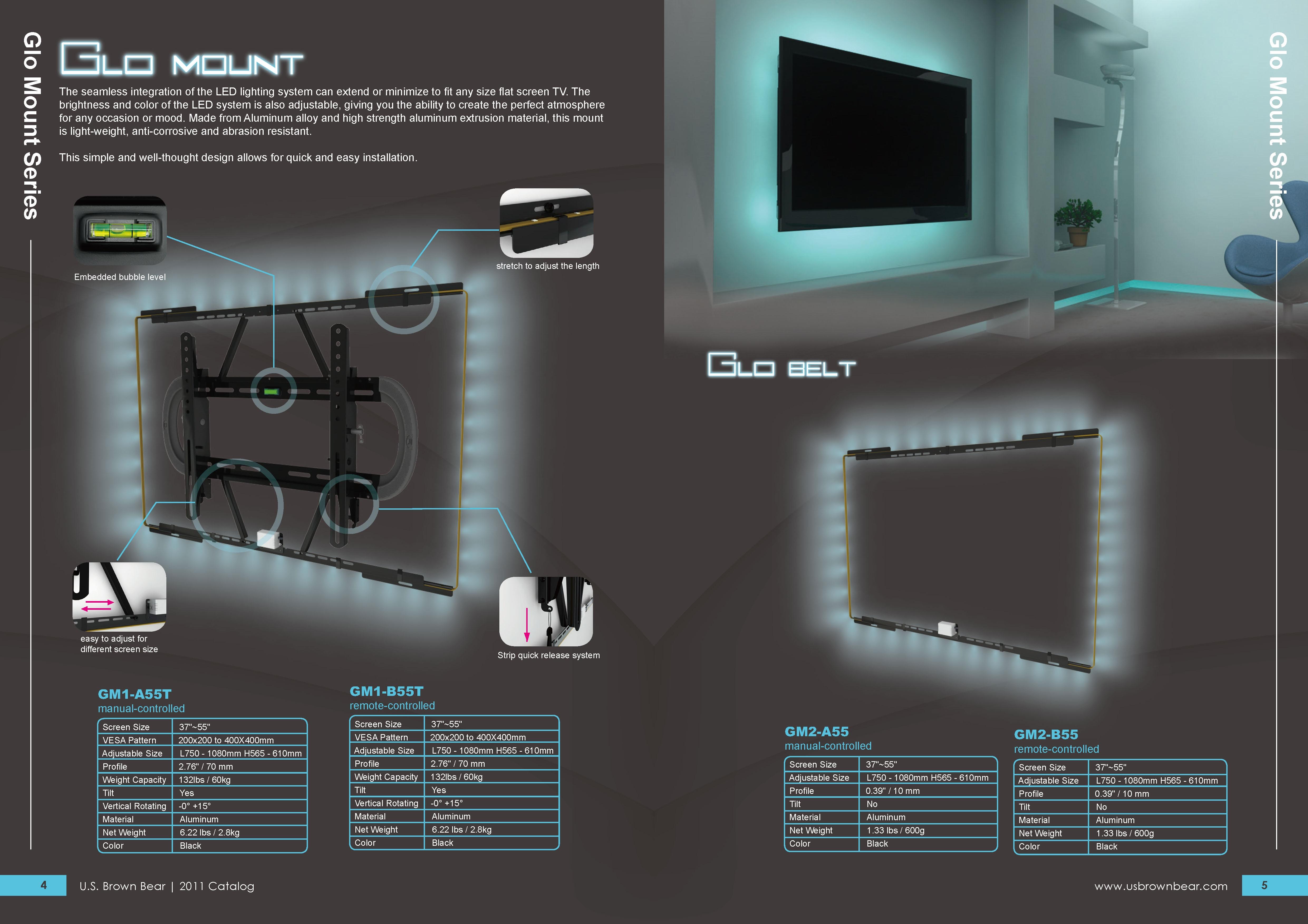 Taiwan Glo Mount - LED Lighting Mount for Flat Screen TV
