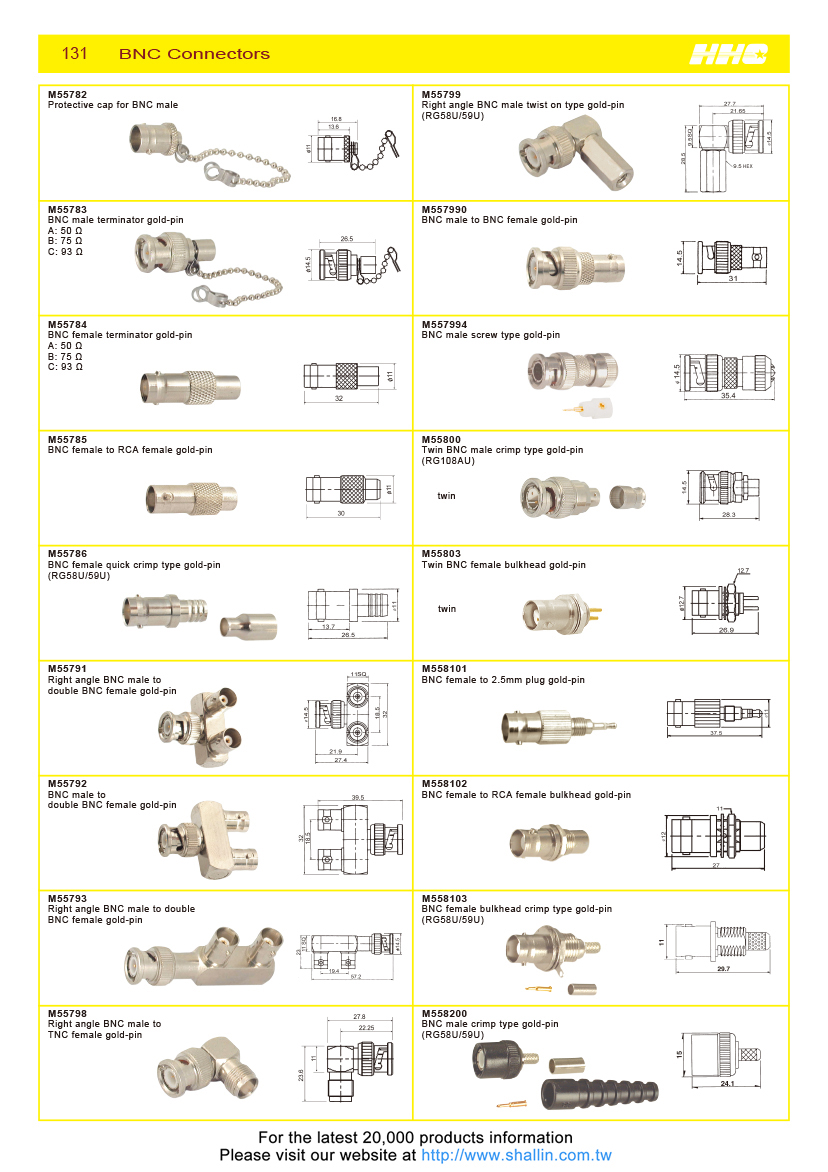 Taiwan RF Connector, double BNC female bulkhead gold-pin