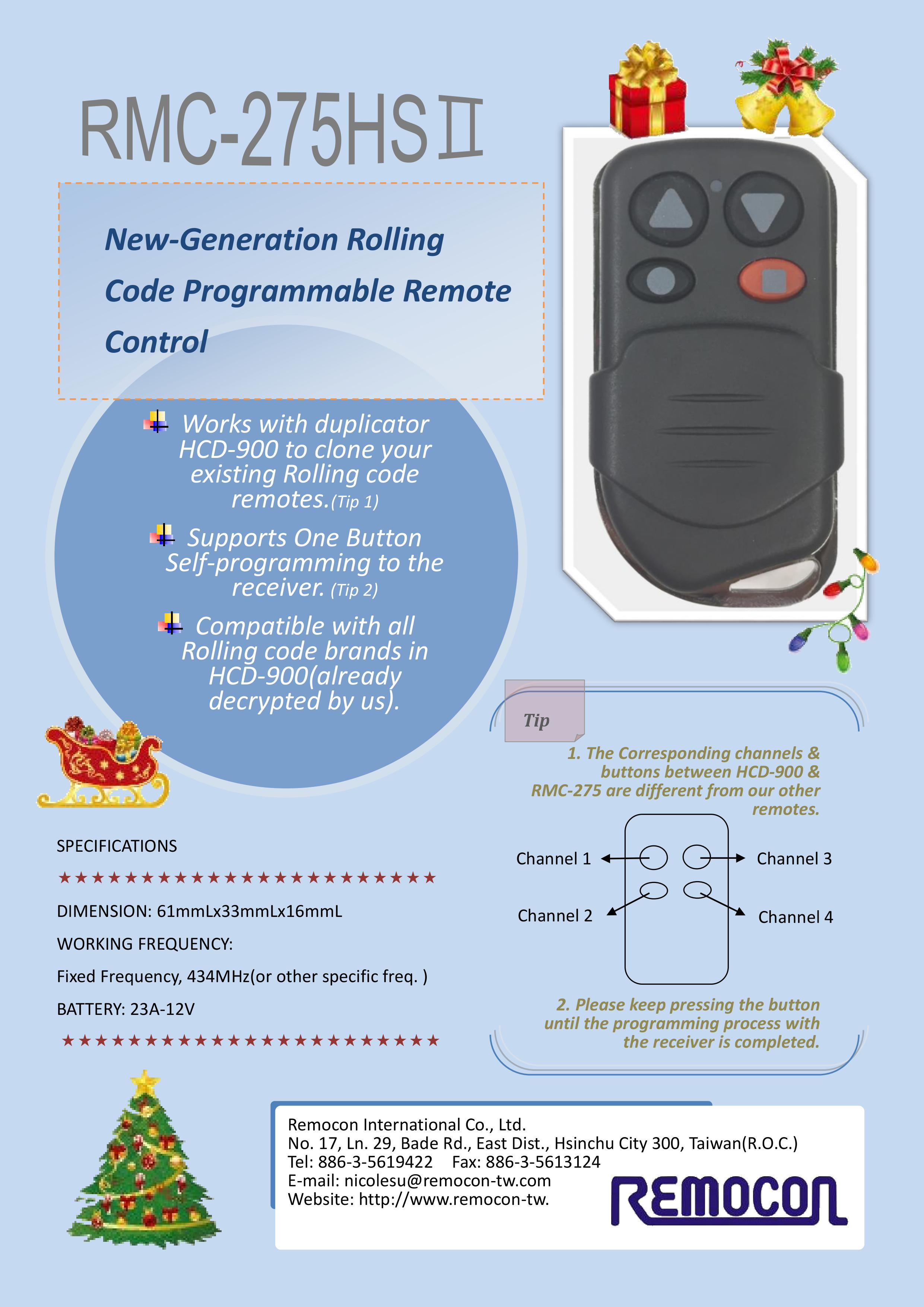 Taiwan Remocon Rolling Code Programmable Remote Control