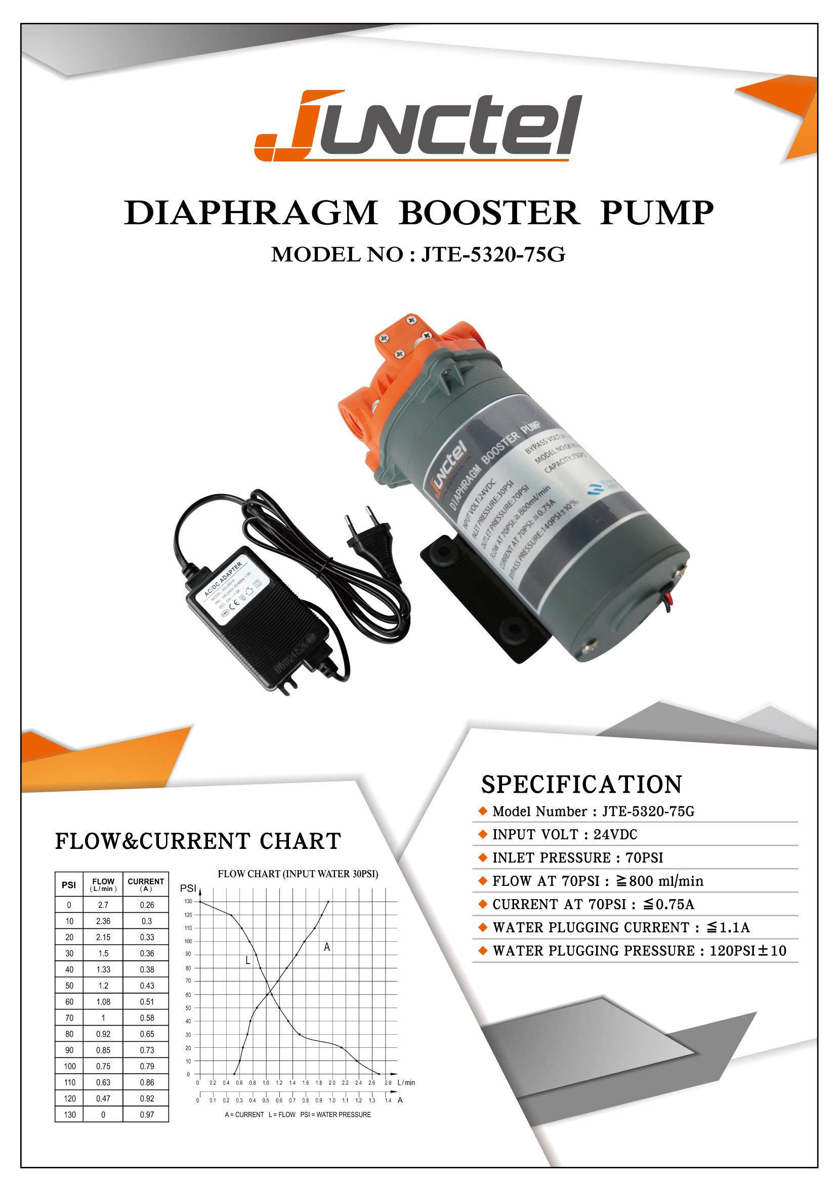 Taiwan Diaphragm Booster Pump 75gpd Aqua Care Co Ltd