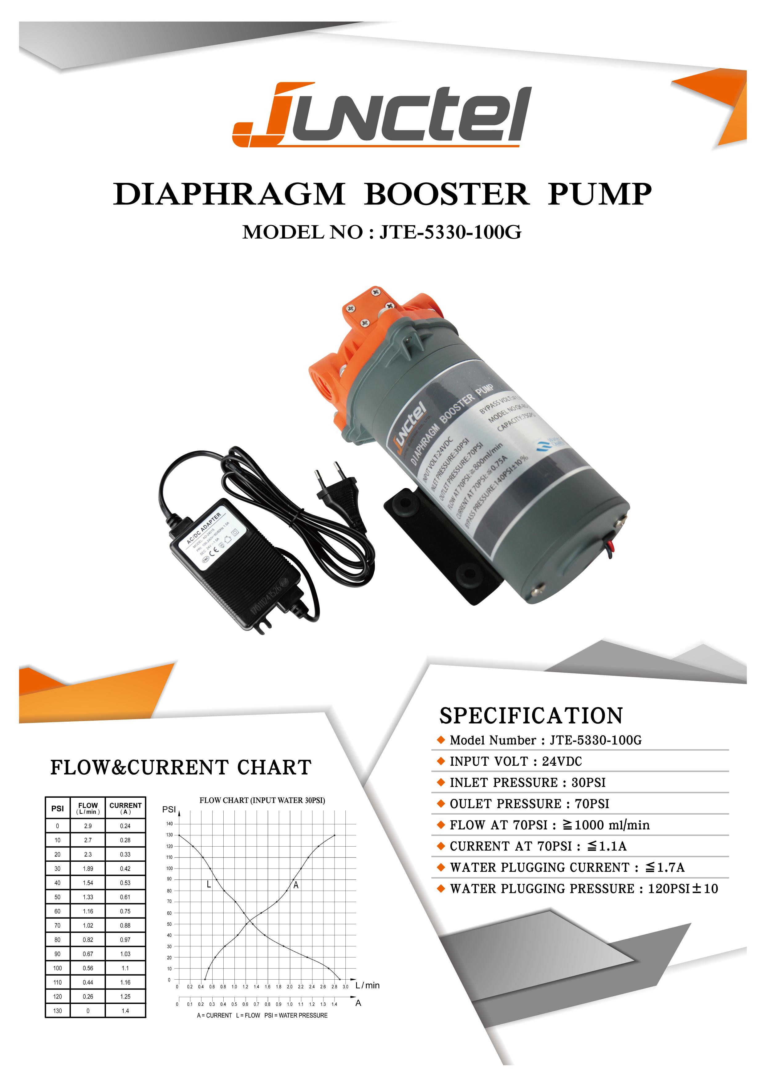 Diaphragm Booster Pump 100gpd Aqua Care Co Ltd