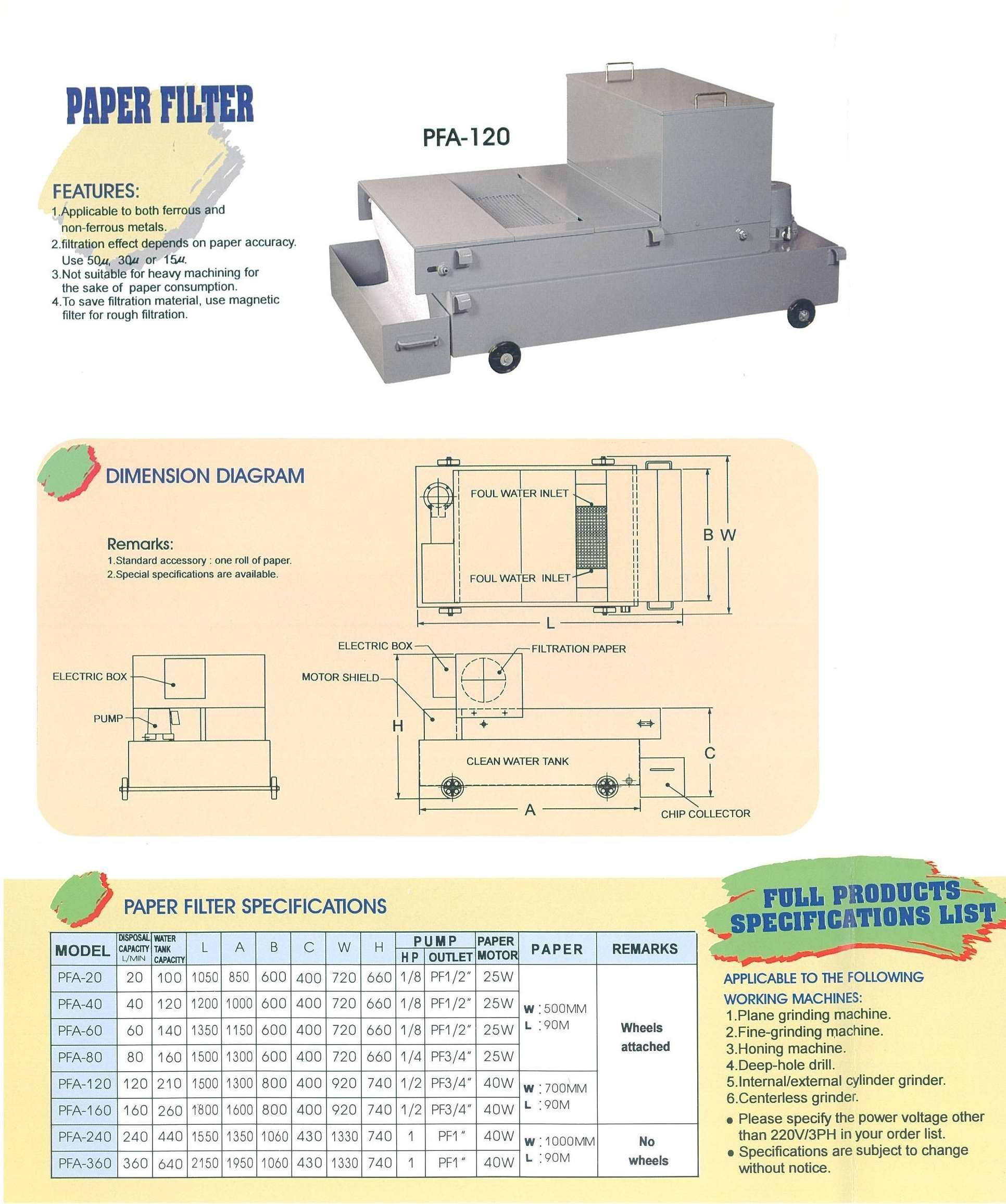 Taiwan Pepar Bed Filter, Paper Filter, Grinding Machine