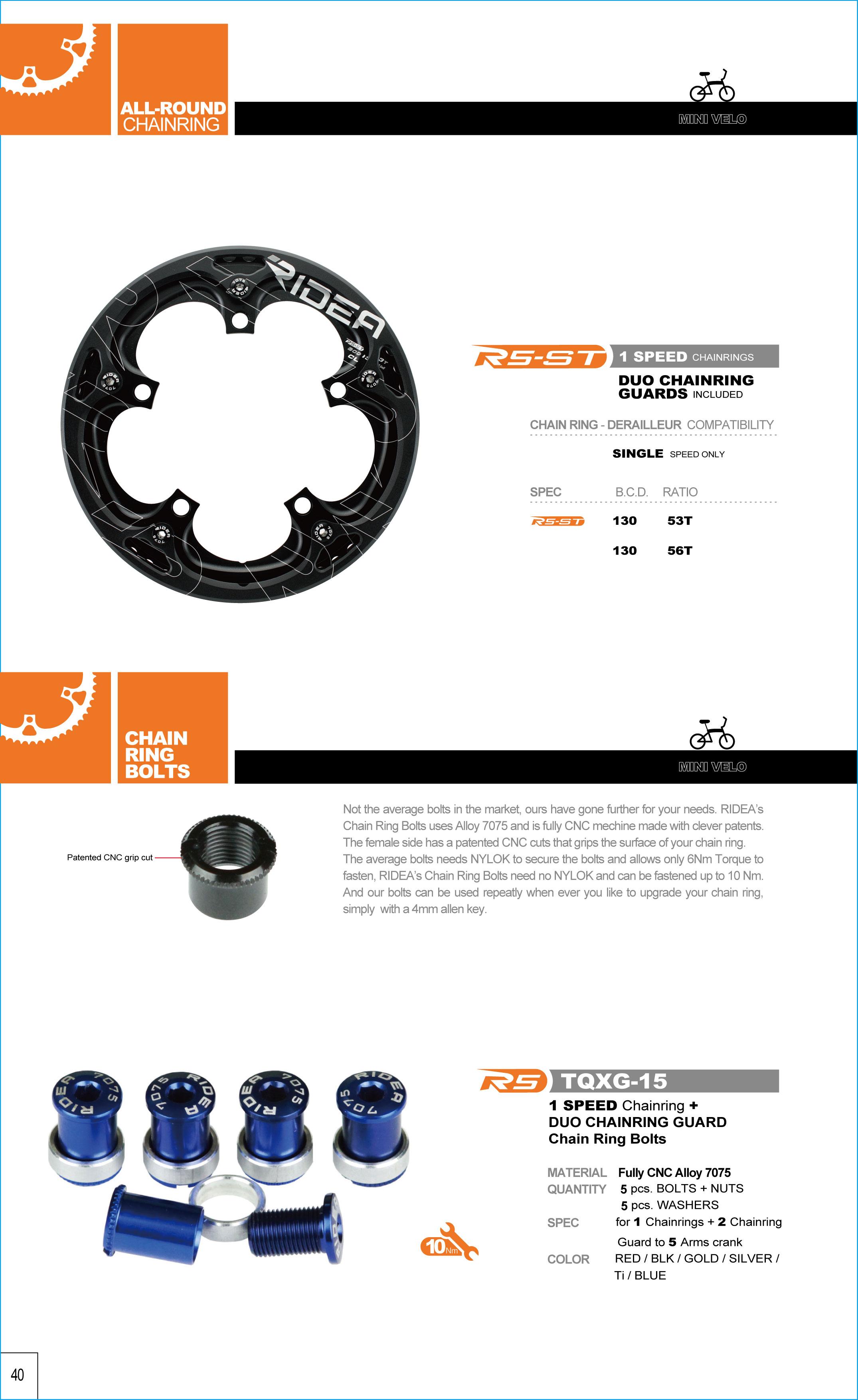 Taiwan Baut Chainring Sepeda Lipat Tqxg 15 Suku Cadang Bolt Chain Ring Folding Bike B069mb