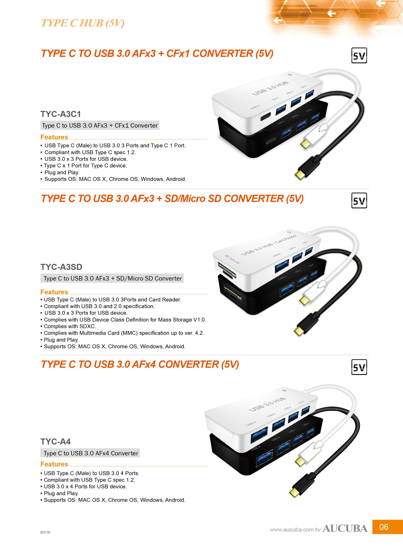 TYPE C TO USB 3 0 AF*4 CONVERTER (5V) | AUCUBA INTERNATIONAL