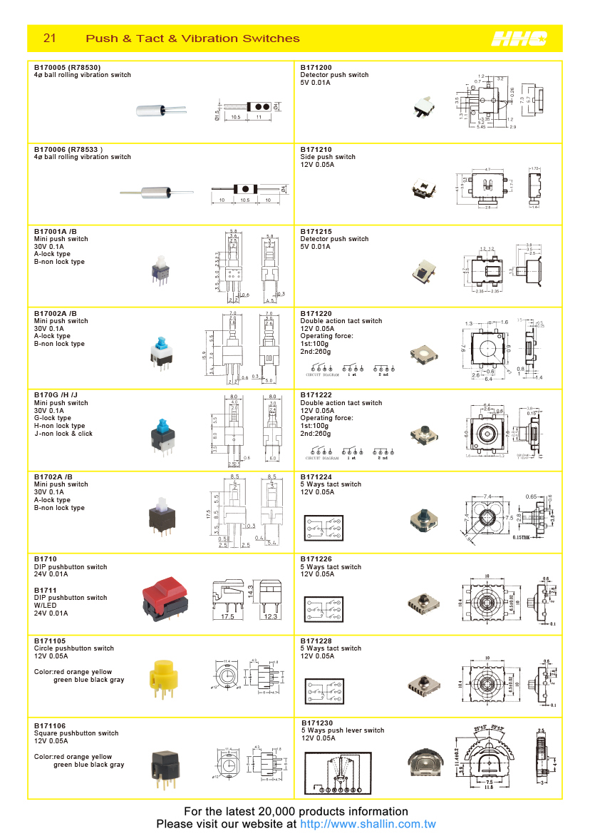 Taiwan 4mm Ball Rolling Vibration Switch Shallin Electronics Co Ltd