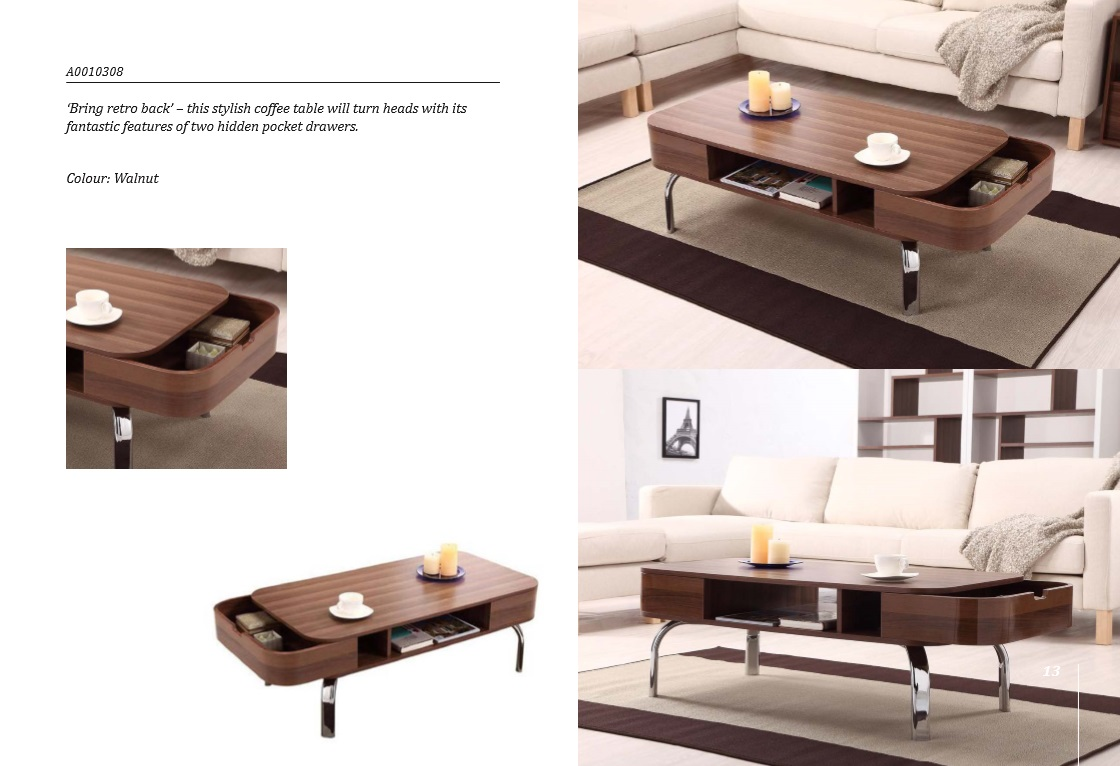 Taiwan Modern Round Walnut Ton Hidding Storage Coffee Table Slicethinner Manufacturing Company